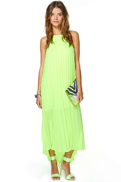 KCLOTH Neon Green Halter Chiffon Party Dress in Ruffle Detailed