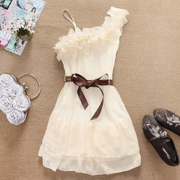 dress one shoulder ruffle cream dress white bow white dress shoes bag girl casual look style celebrity like cool brown ribbon one strap cute dress beige dress flowers cream plaid nice cute bones girly beige short dress ruffle summer floral