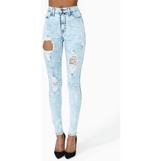 Jeans: ripped skinny jeans, high waisted jeans, light blue, ripped ...