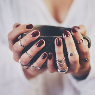 jewels angl knuckle ring ring silver ring armor ring coffee los angeles studs studded burgundy nail polish nail armour nail art grunge girly grunge triple