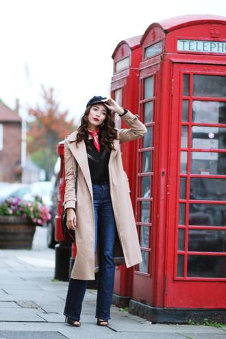 preppy fashionist blogger hat blouse jeans shoes coat