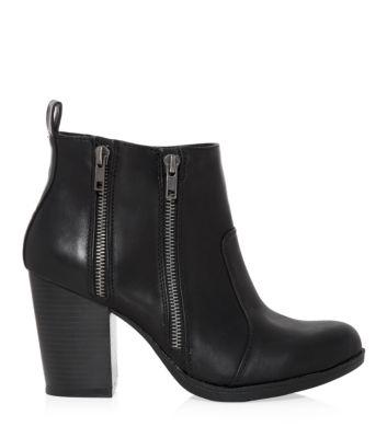 Black Double Zip Side Block Heel Boots