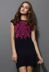 dress,rose red,jacquard,knitwear,pencils