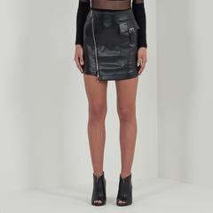 Leather Utility Skirt - Black