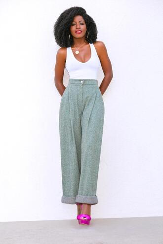 blogger tank top pants jacket shoes sandals white top spring outfits