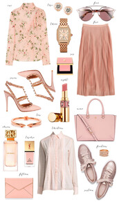 ivory lane,blogger,sunnies,all pink everything,rebecca minkoff,pink heels,pink bag,pink skirt,pink sneakers,pink lipstick