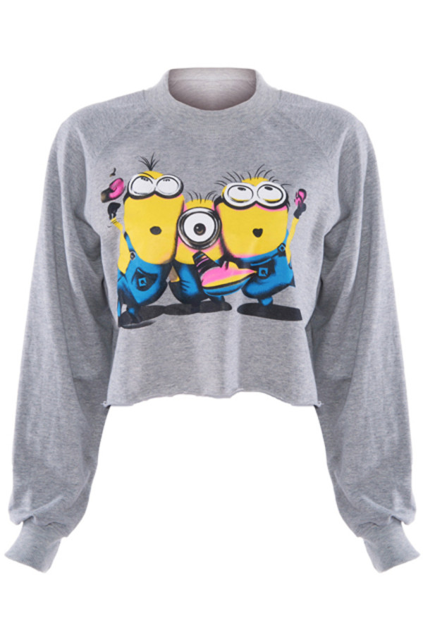 sweater minions crop tops sweatshirt grey minions