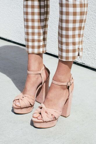 shoes cropped pants pattern gingham suede shoes thick heel party shoes nude shoes nude checkered retro sandal heels t-strap heels all nude everything