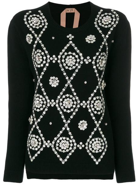No21 jumper women pearl embellished black wool sweater