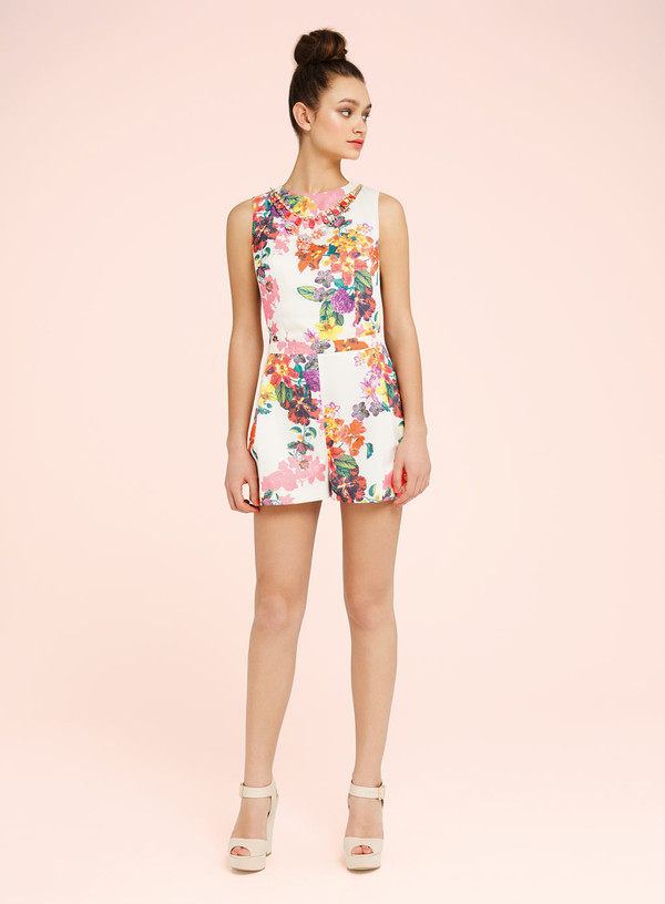 jumpsuit floral trim playsuit