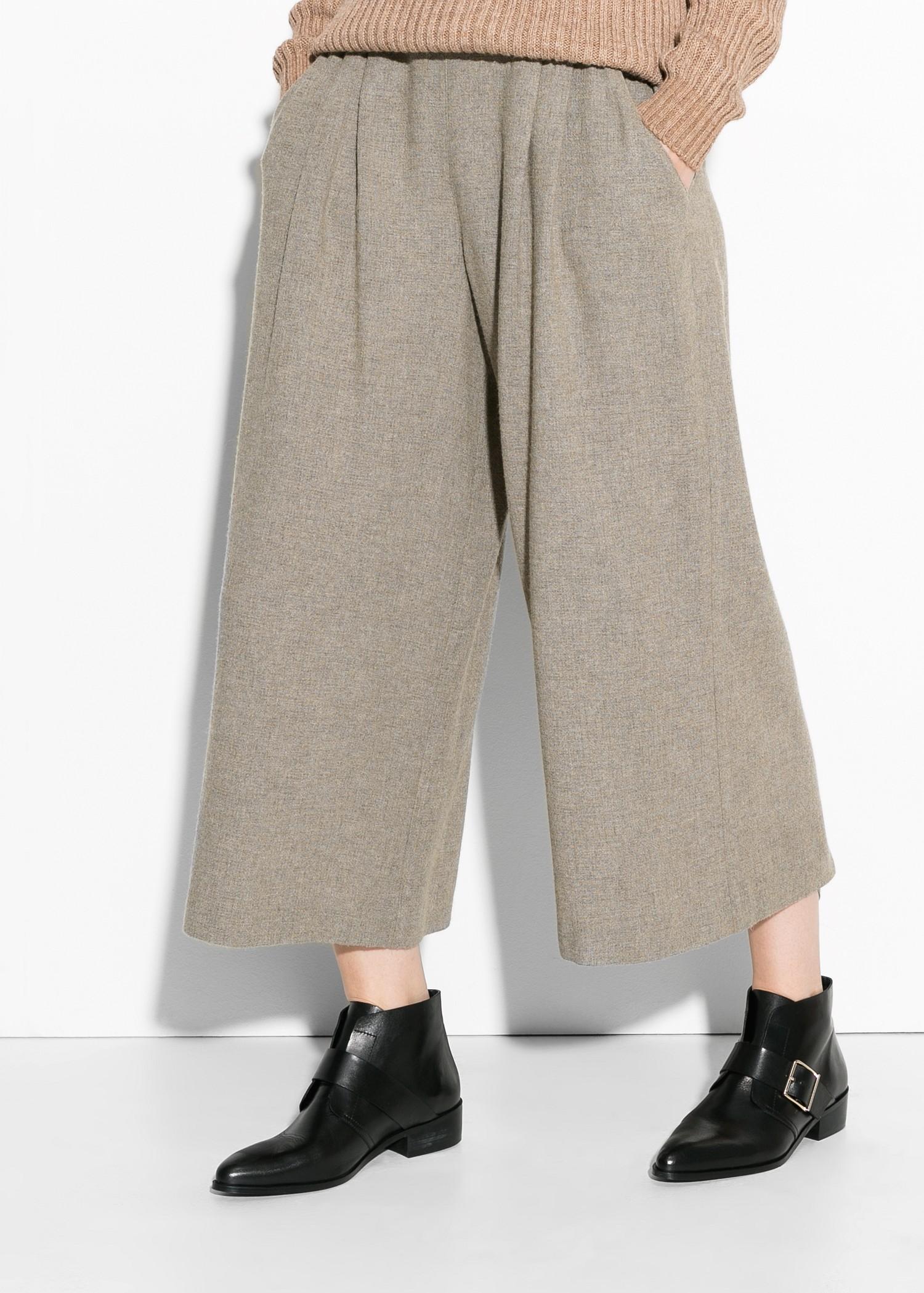 Pantalon palazzo capri en laine - Femme   MANGO