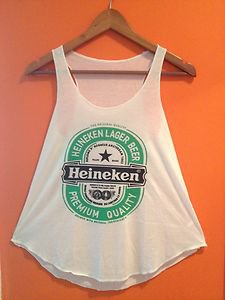 Ladies Girls Lovely Top Tank Vest Shirt Print Heineken Sleeveless Top Vest Shirt on Wanelo