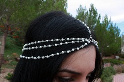 Online Shop Free shipping Bohemian Bridal Headpiece 7-strand White Bead pearl Chain Boho Hair piece Indian Bride Hair Jewelry Chain Headband|Aliexpress Mobile