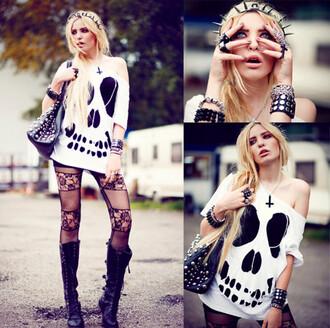 shirt skull punk tumblr black white grunge tights