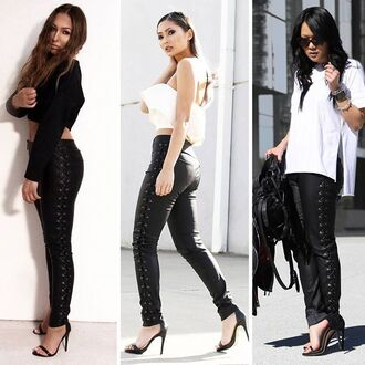 leggings maniere de voir leather lace up tie up tie side black zipped