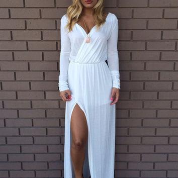 White Del Rio Long Sleeve Maxi Dress on Wanelo