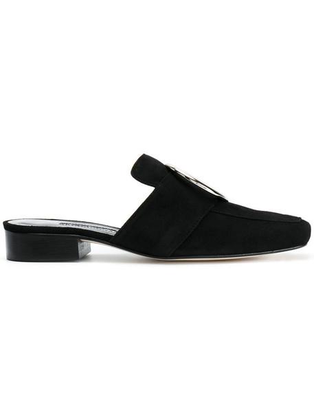 Dorateymur women mules leather suede black shoes