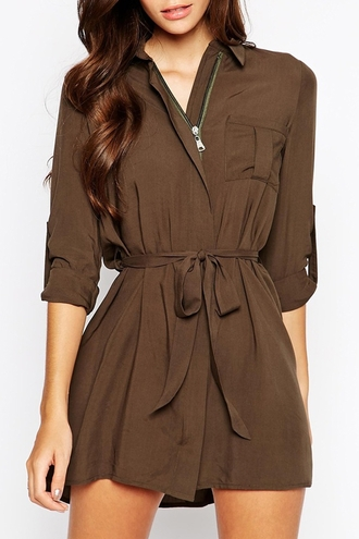 dress zaful brown dress long sleeve brown dress mini brown dress summer dress tie dress