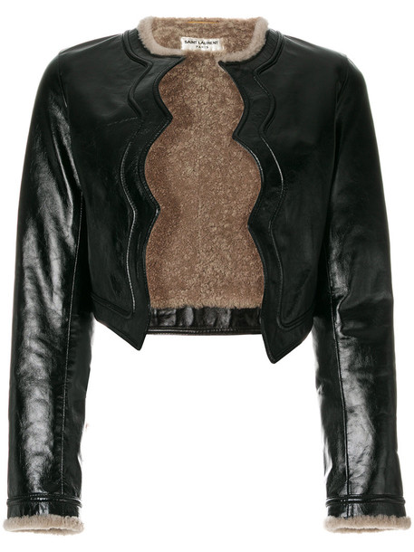Saint Laurent jacket cropped jacket cropped women leather black