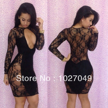 2013 New Arrival Sexy Lace Dress Black Open Front Transparent  Bandage Sexy Bodycon Dress Women Plus Size S M L-in Dresses from Apparel & Accessories on Aliexpress.com