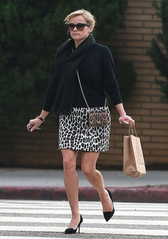 skirt animal print reese witherspoon fall outfits shoes