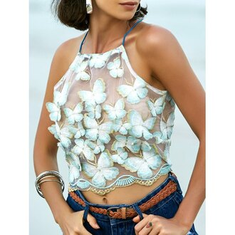 top rose wholesale cute mesh fashion style trendy girly crop tops