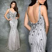 dress,nina canacci,fit and flare dress,prom dress,pageant dresses,evening dress,silver dress