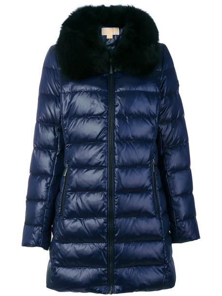 MICHAEL Michael Kors jacket feathers fur fox women blue