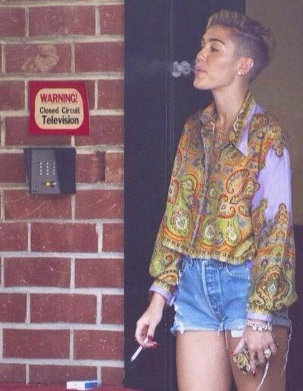 blouse pattern paisley miley cyrus purple shorts shirt celebrity style streetwear streetstyle dope urban