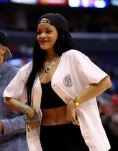 shirt,rihanna,cardigan,white,buttons,large shirt,oversized cardigan,oversized shirt,oversized,cute,amazing,hipster,jersey,blouse,hat,long hair,black hair,jewels,tank top,white blouse,match,basket,baseball shirt,snapback,nails,necklace,top,jewelry,ring,bracelets,pink,streetwear,t-shirt,baseball jacket,t shirt.,jacket,the white jersey