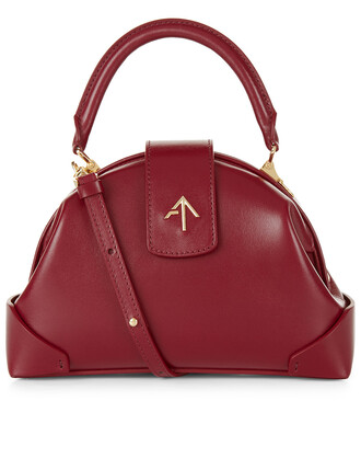 moon handbag leather burgundy bag