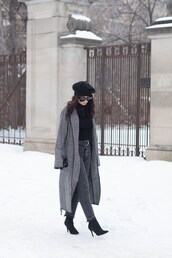 coat,tumblr,grey coat,long coat,winter outfits,hat,beret,top,black top,denim,jeans,grey jeans,boots,black boots,sunglasses
