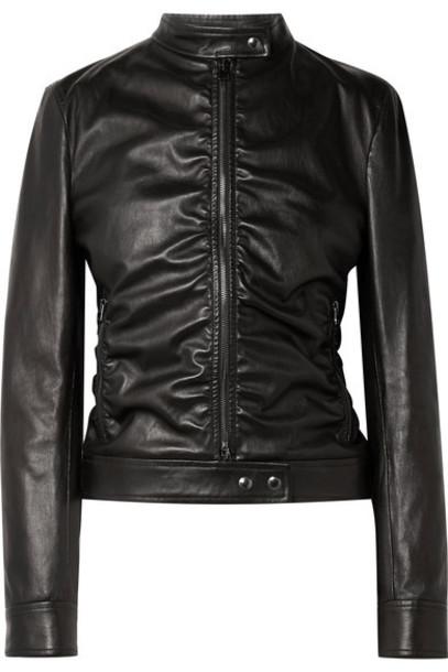 TOM FORD - Ruched Leather Biker Jacket - Black