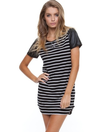 dress stripes streetstyle leather black and white teedress all about eve striped dress