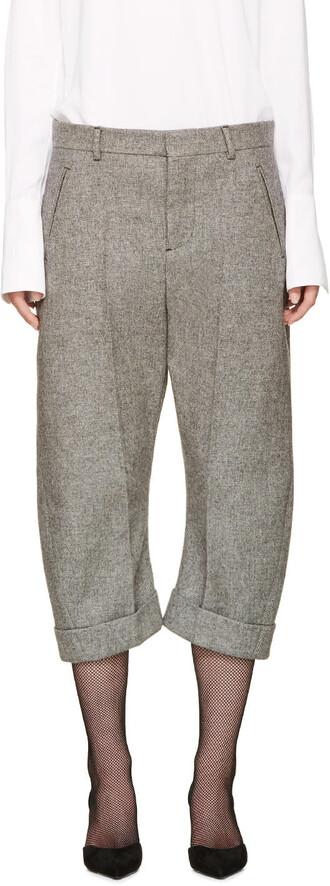 cropped kawaii grey pants