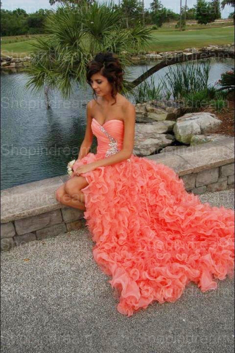 Aliexpress.com : buy a line sweetheart ruffles long coral prom dress shopindream from reliable prom line dresses suppliers on shopindream