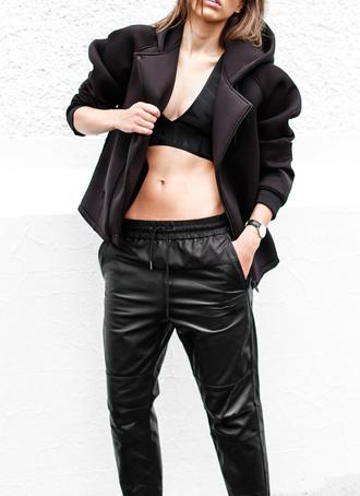 modern legacy blogger bralette neoprene leather pants black boyish