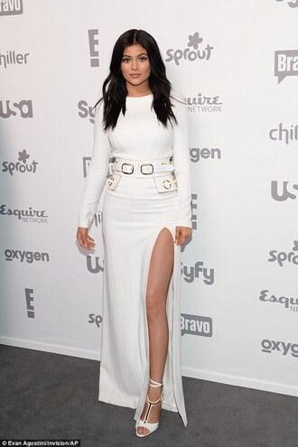 belt kylie jenner white slit dress white dress waist belt belted dress