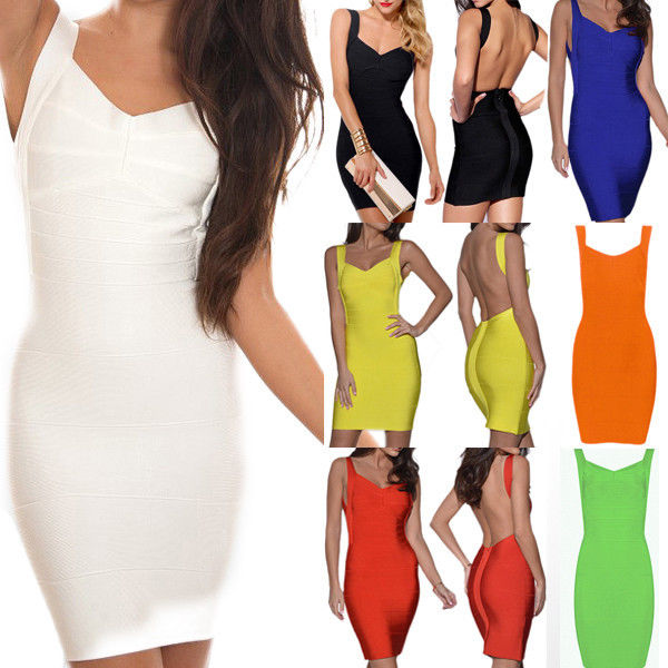 New Sexy Women's Backless Cocktail Party Evening Bandage Bodycon Dress Skirts