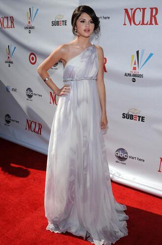 dress prom dress white dress white alma awards selena gomez selena gomez dress one shoulder dress flowing dress