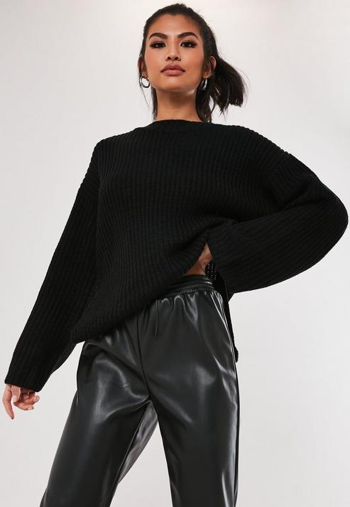 Black Rib Side Split Long Knitted Jumper