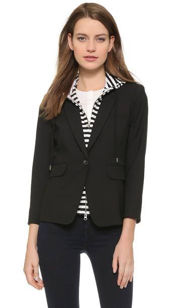 Veronica Beard Schoolboy Jacket With Striped Dickey - Black