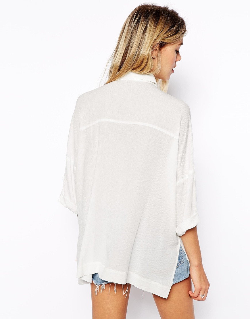 ASOS Crinkle Oversize Blouse at asos.com
