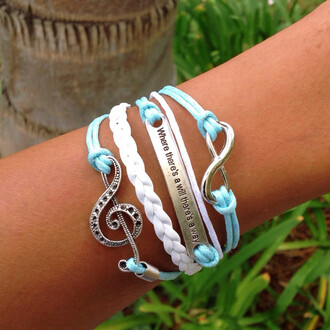 jewels music infinity quote on it braided string lovely baby blue bracelets