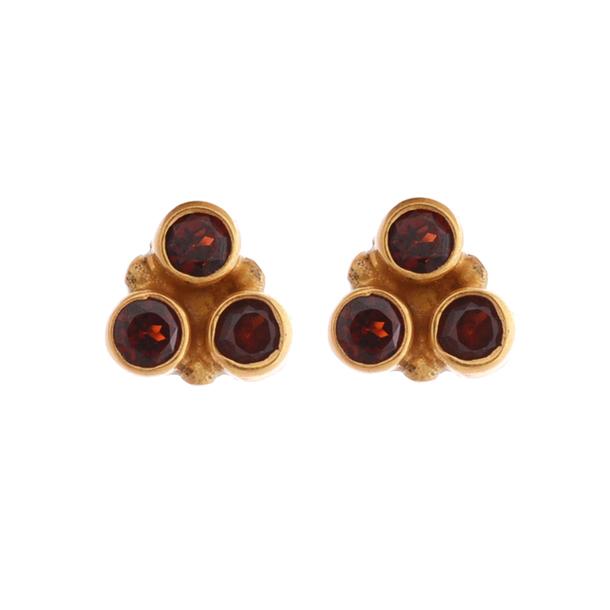 jewels garnet gemstone stud gold plated women earring jewelry stud earrings