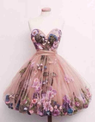 dress prom dress pink hipster flowers short romantic fashion floral pretty homecoming dress tutu sweetheart neckline fairy tale princess beautiful style fashion inspo butterfly tule