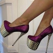 shoes,high heels,platform shoes,purple shoes,glitter shoes,glitter,celebrity style,studs,gold studded heels,studded heels,prom shoes,party,heels