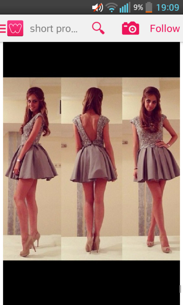 dress prom dress backless glitter brown grey