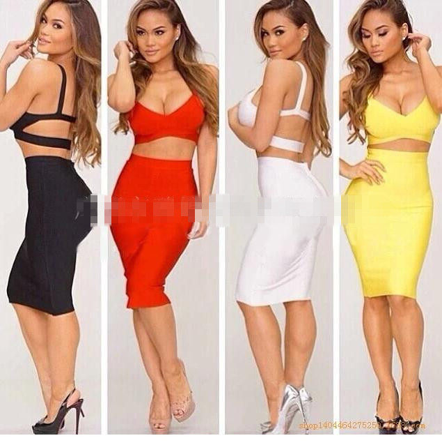 Cute sexy show body two piece dress