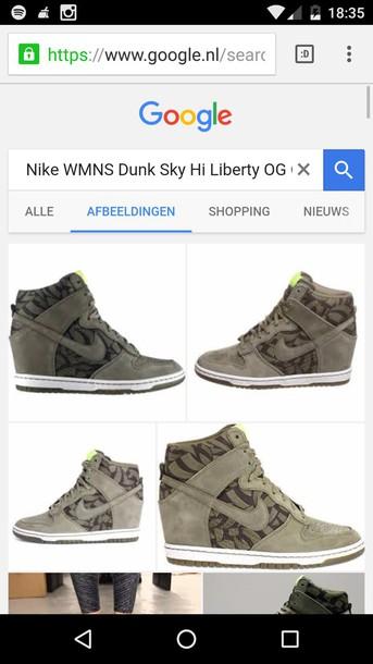 online retailer c5ce5 760f9 shoes nike love nike dunk sky hi nike dunk sky high summer sneakers green  olive green